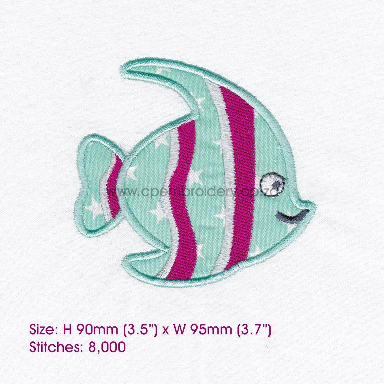 Striped Moorish Idol Pet Fish Applique Design example image 4