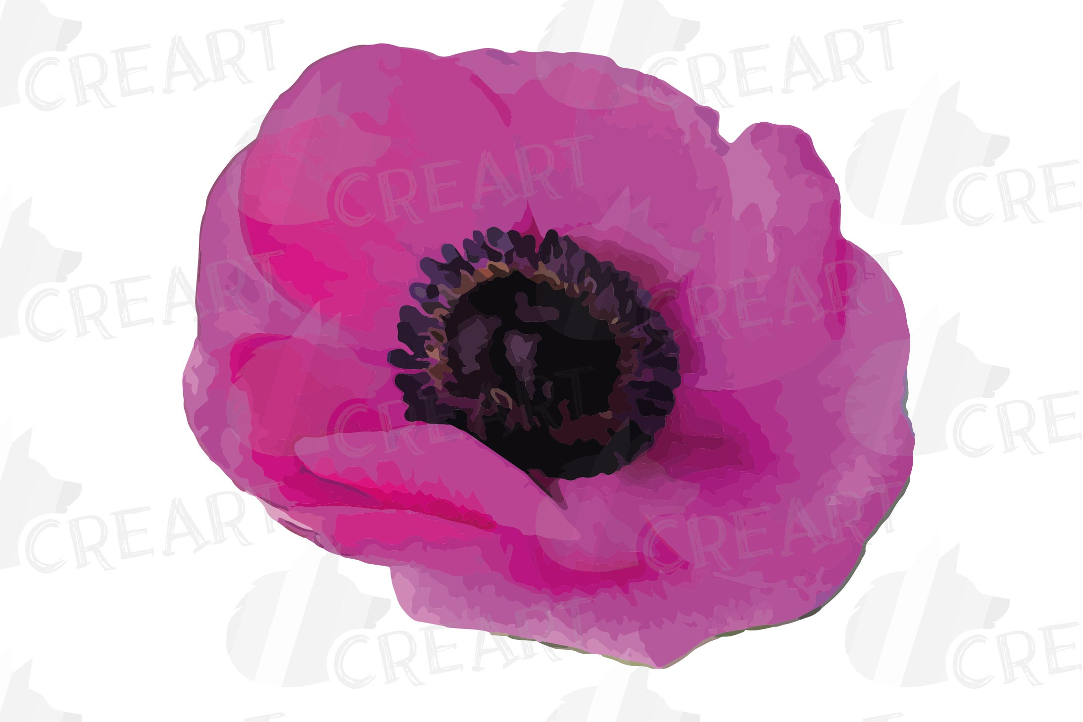 Anemone watercolor clip art pack, watercolor anemone design example image 10