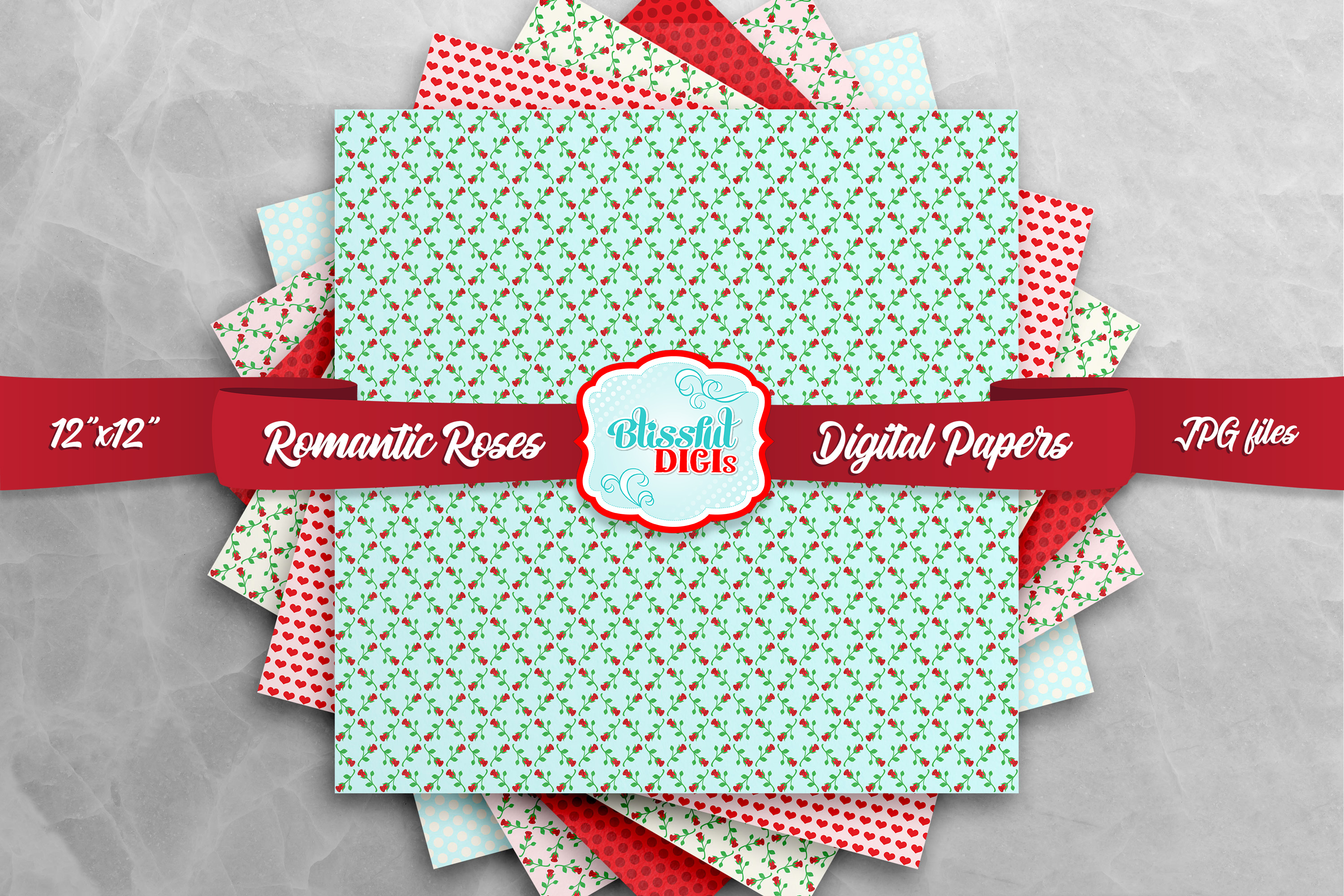 Digital Papers Bundle - Romantic Roses - JPG example image 2