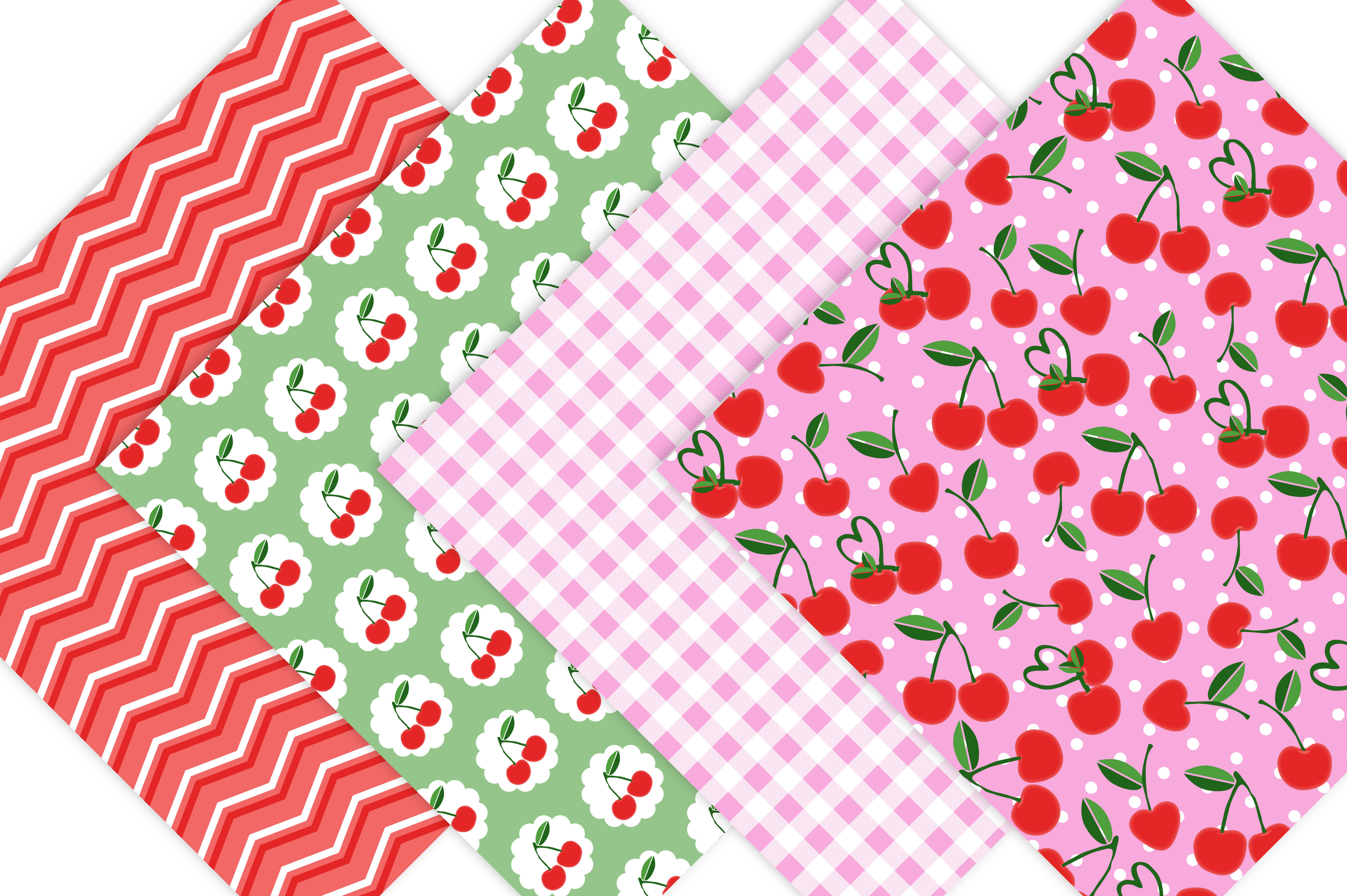 Cherry Digital Scrapbook Paper Pack example image 2