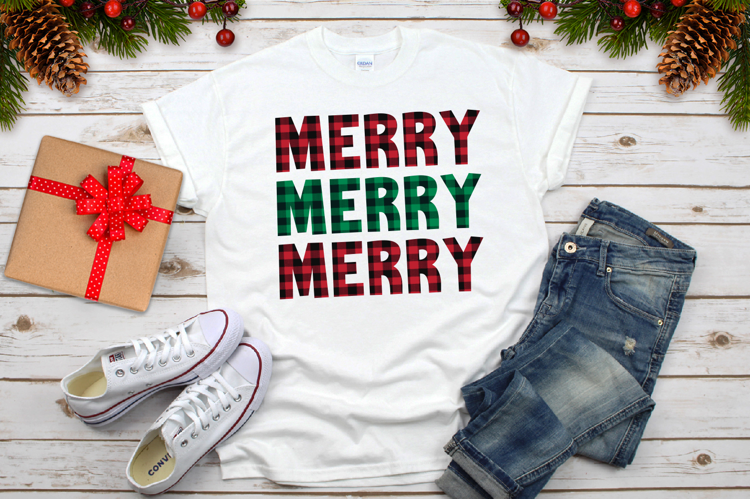 Merry Merry Merry Christmas Plaid Svg example image 3