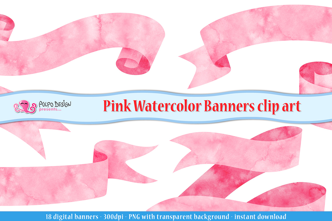 Pink Watercolor Banner clip art example image 1