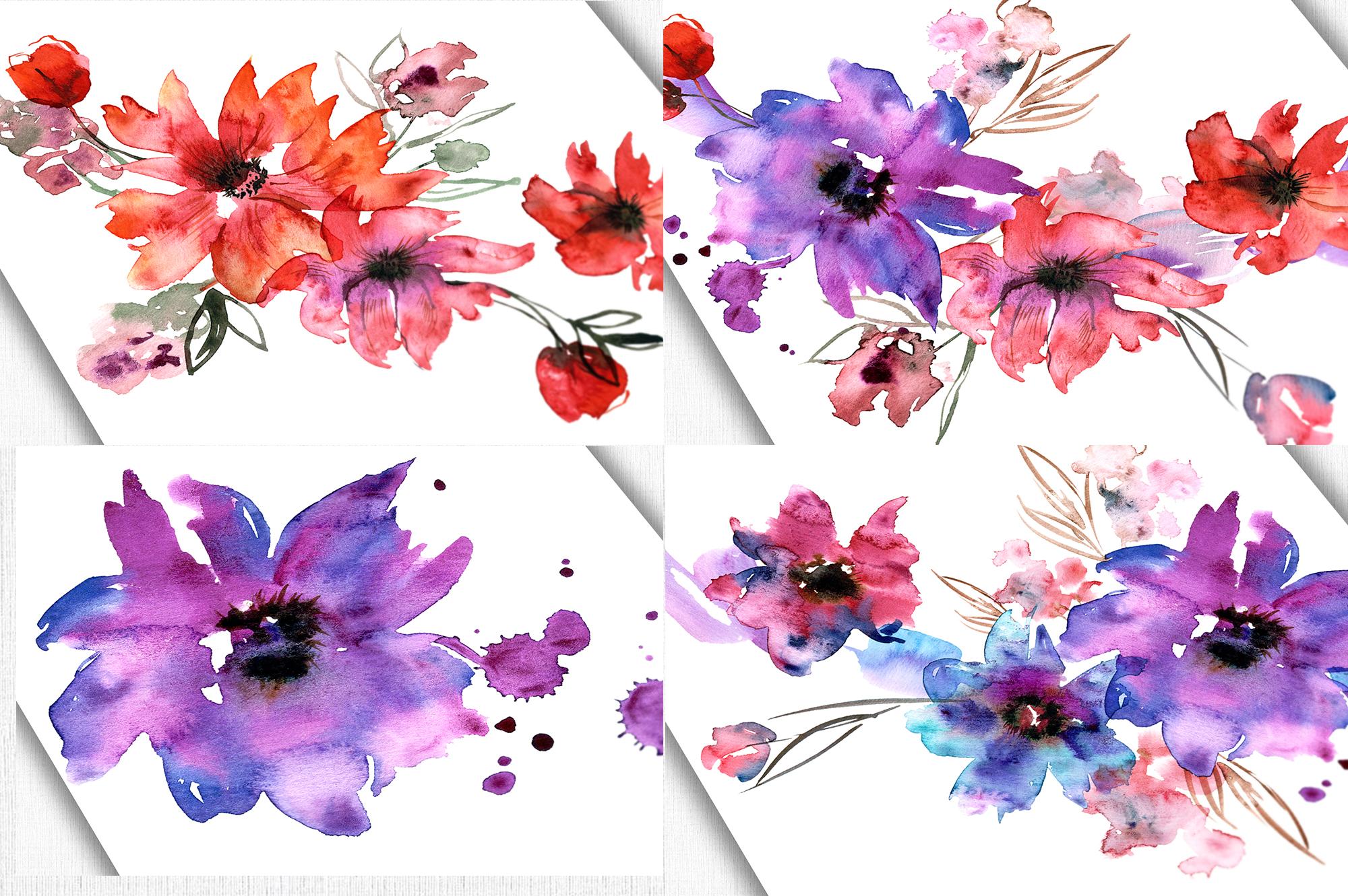Watercolor Purple Flowers example image 2