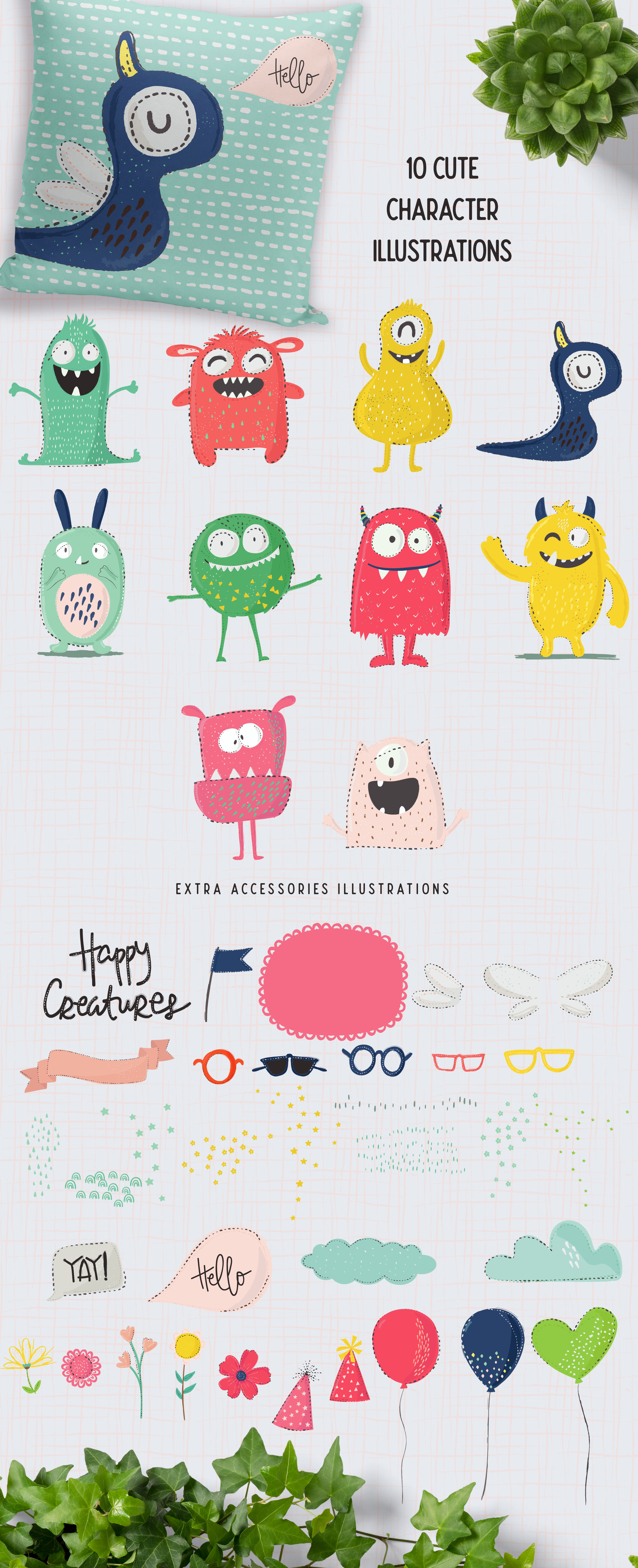 Happy Creatures Illustrations example image 3
