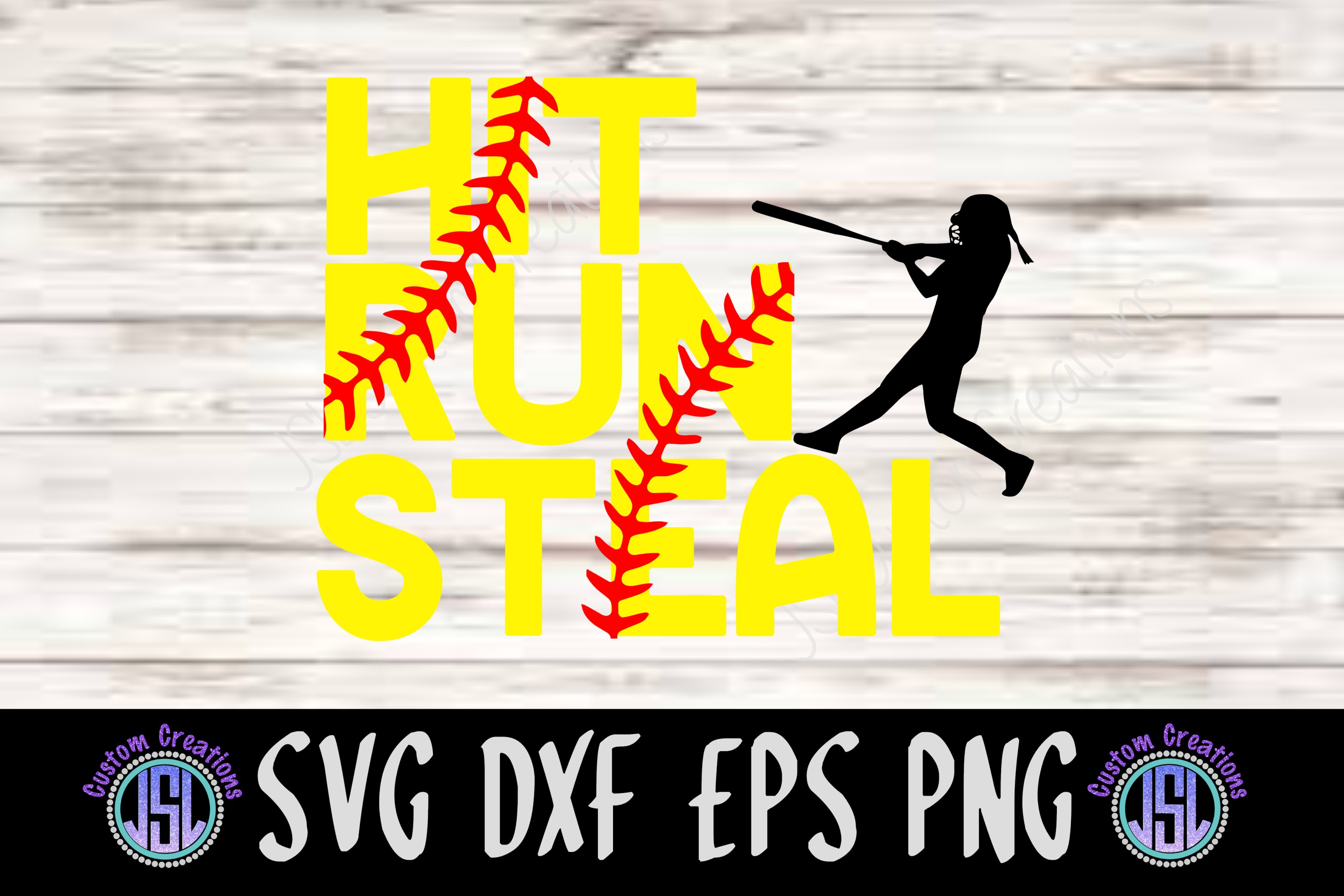 Hit Run Steal | Set of 2 Softball Bundle| SVG DXF EPS PNG example image 1