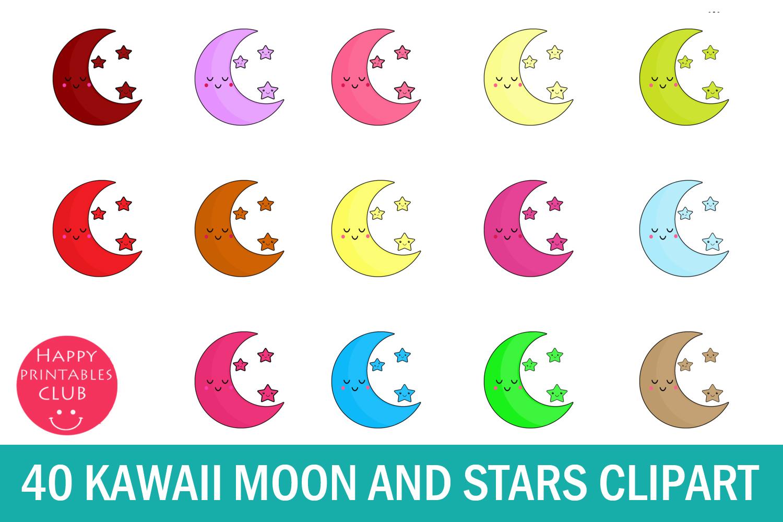 40 Kawaii Moon Stars Clipart- Kawaii Crescent Moon Clipart example image 1