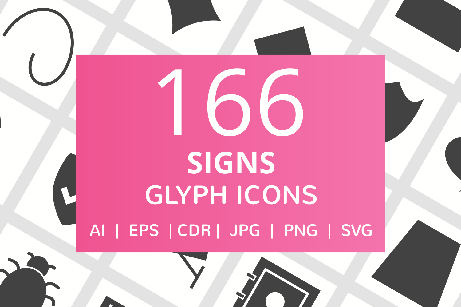 166 Sign Glyph Icons example image 1