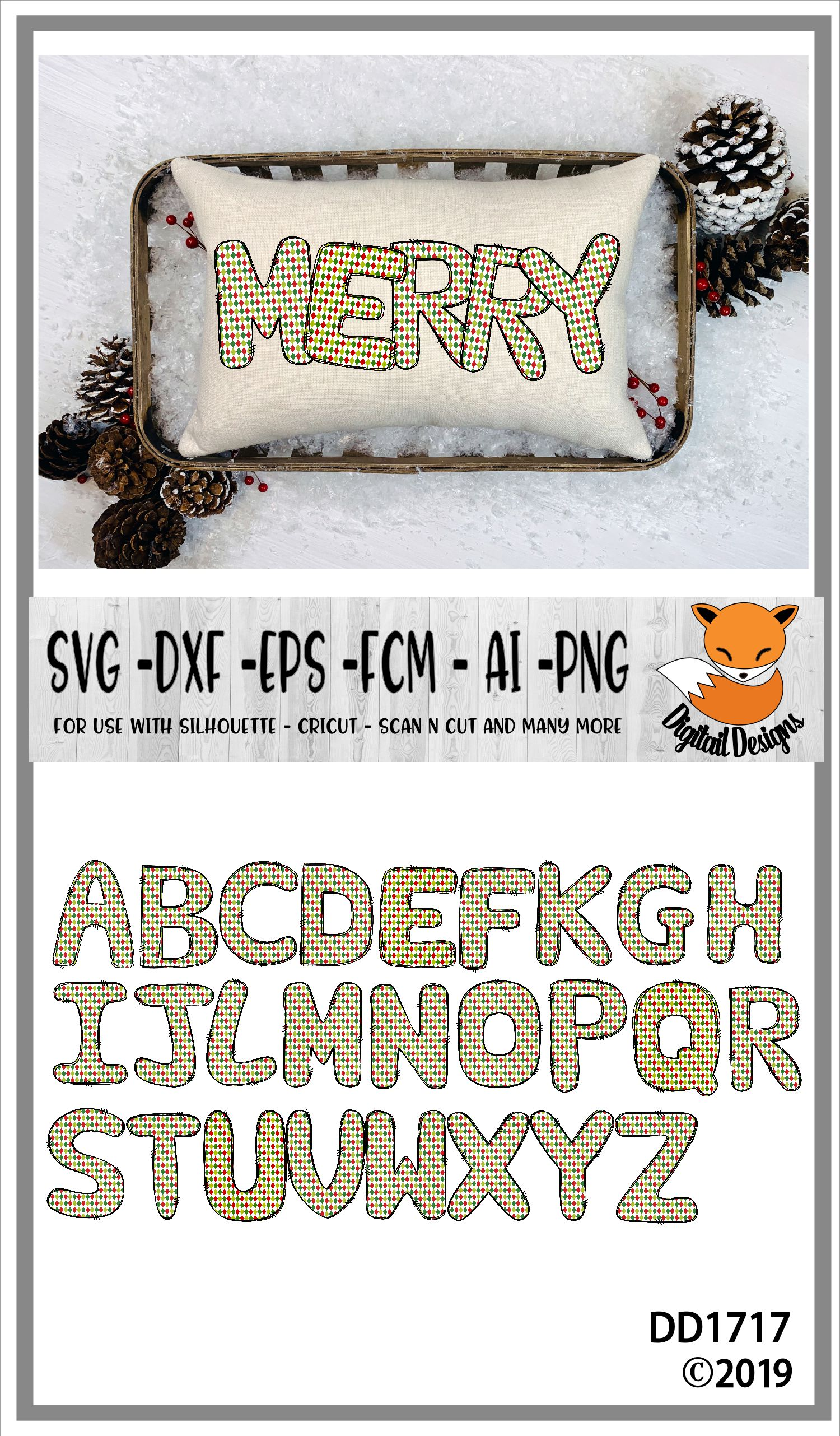 Sublimation Printable Christmas Color Alphabet Letters example image 2
