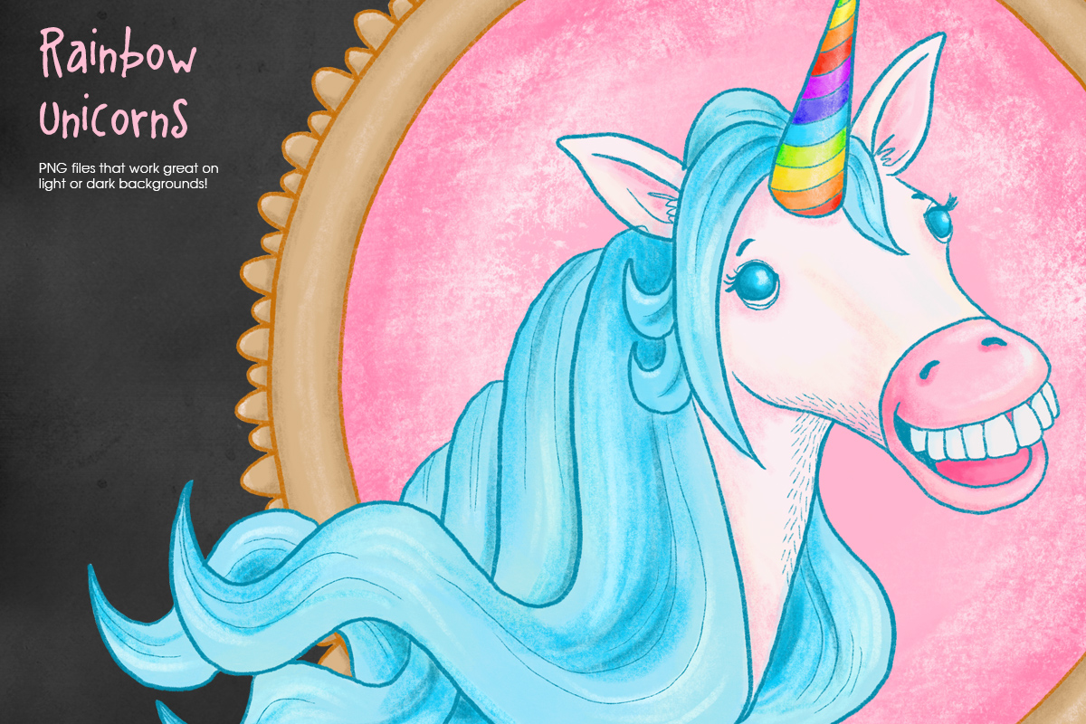 Rainbow Unicorn Illustrations, PNG files example image 4
