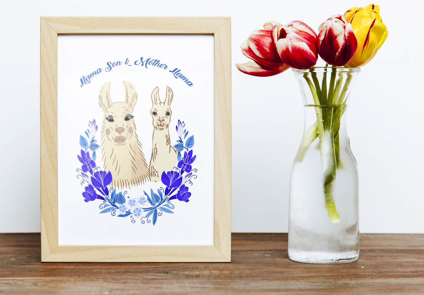 Llama Clipart with red flowers example image 5