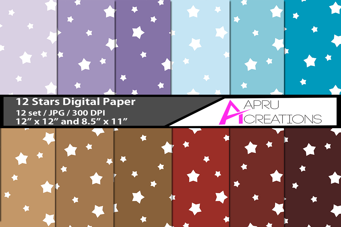 stars   digital papers, stars pattern, digital papers, high quality 300 dpi, 12 x 12 inch , and 8.5 x 11 inch example image 1