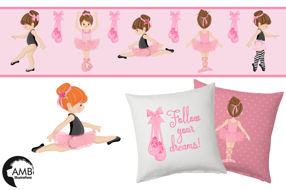 Ballerina clipart and paper BUNDLE, graphics and illustrations AMB-130678 example image 3