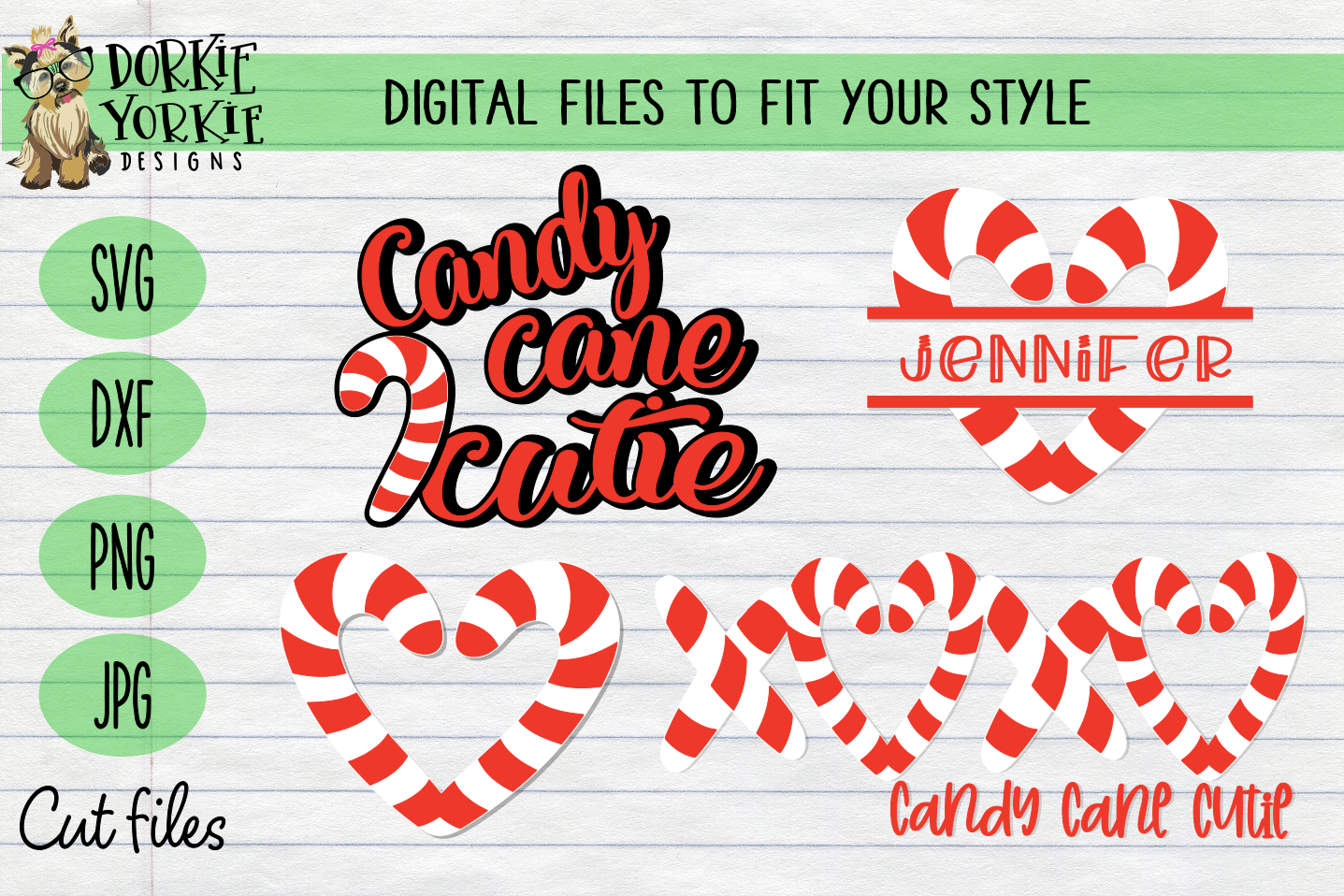 Candy Cane BUNDLE, Name, Heart, Cutie - Christmas, Xmas SVG example image 1