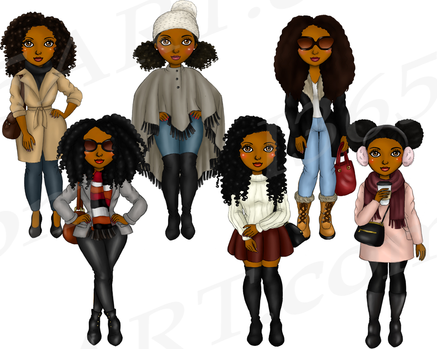 Winter Fashion Girls Black Natural Hair Planner Clipart example image 3