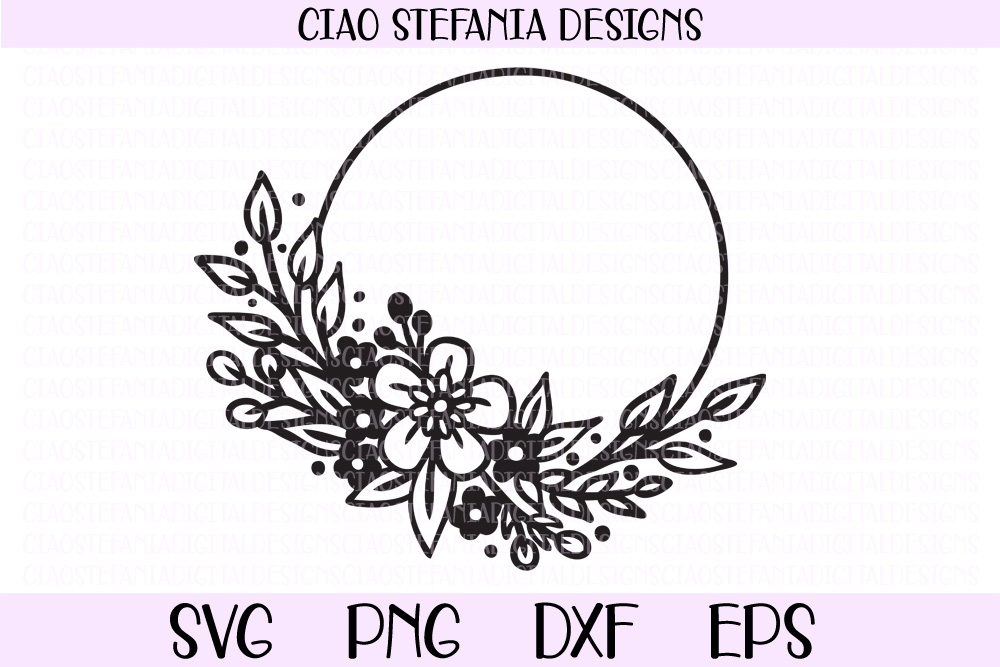 Flowers Wreath Wedding Frame SVG PNG DXF EPS Cut File example image 1