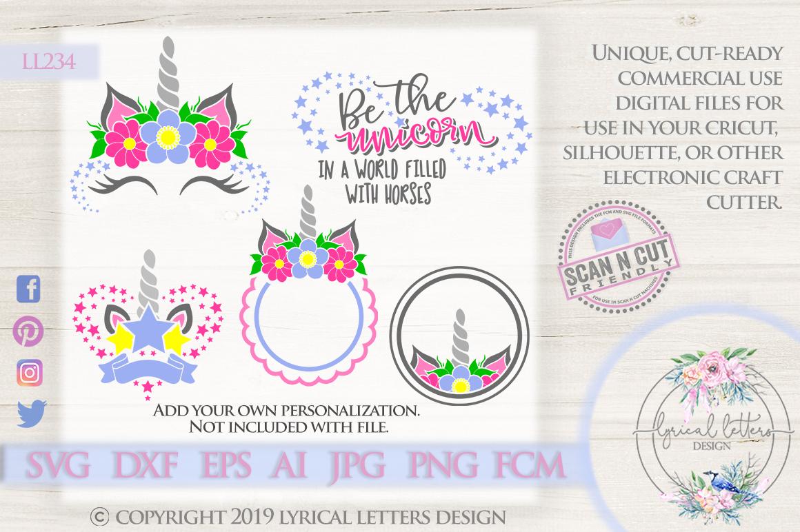 Unicorn Party Mini Bundle of 5 SVG DXF Cut Files LL234 example image 1