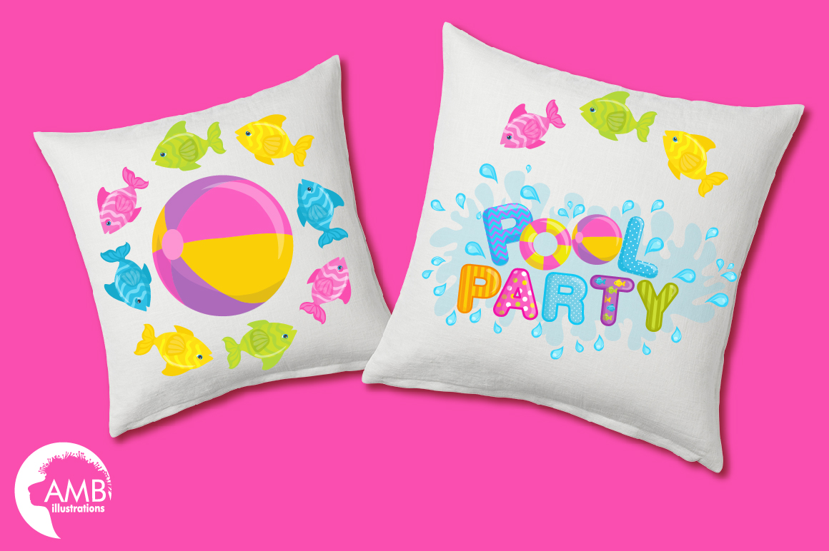 Pool party elements clipart, graphics pack AMB-902 example image 2