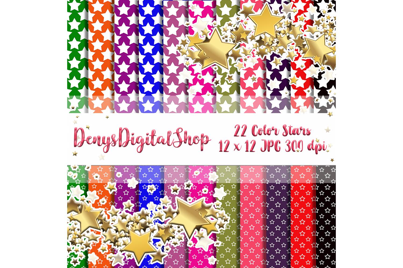 Color Stars, Digital Scrapbook Paper, Stars Patterned,SALE example image 1