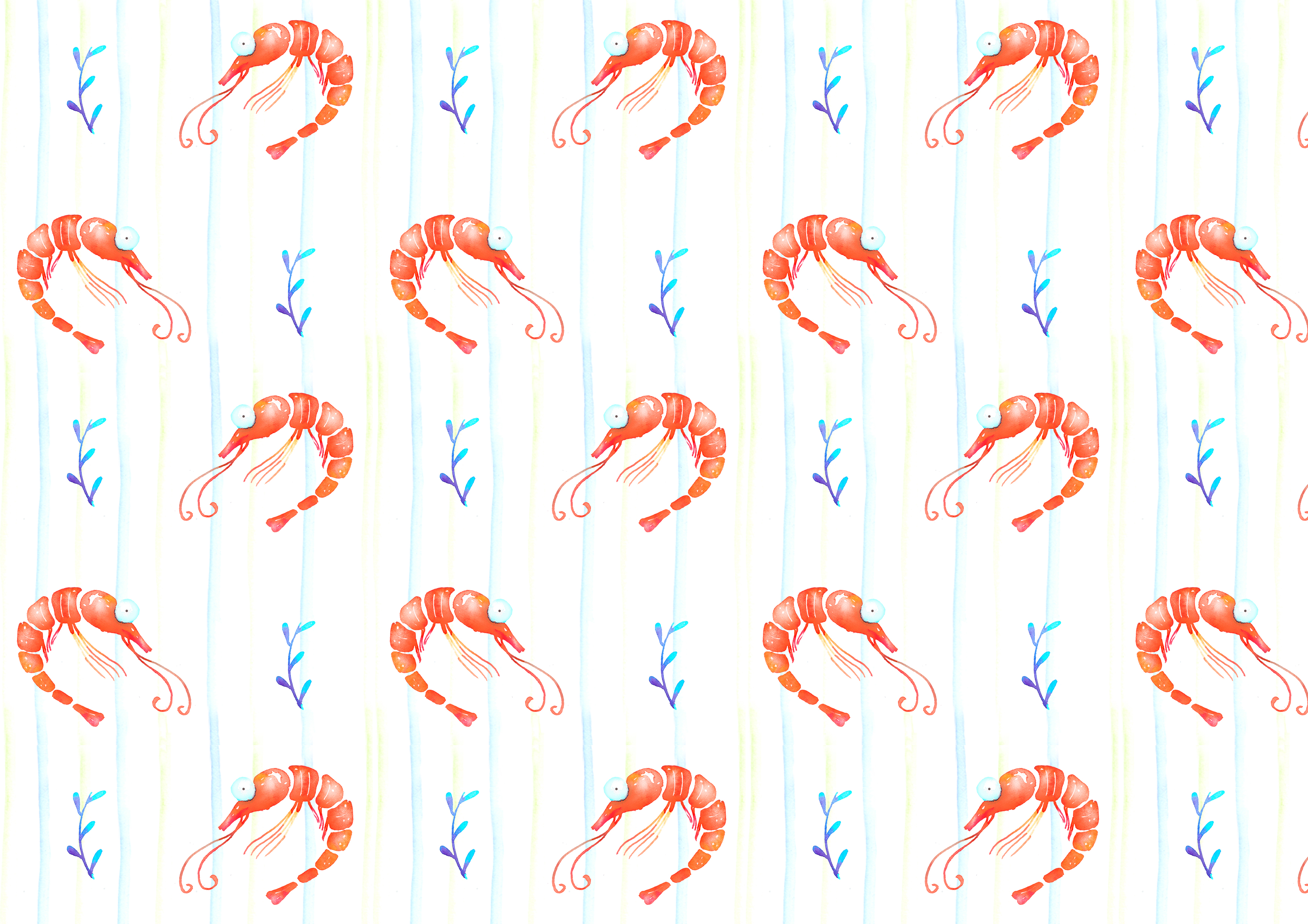 Shrimps watercolor patterns set example image 4