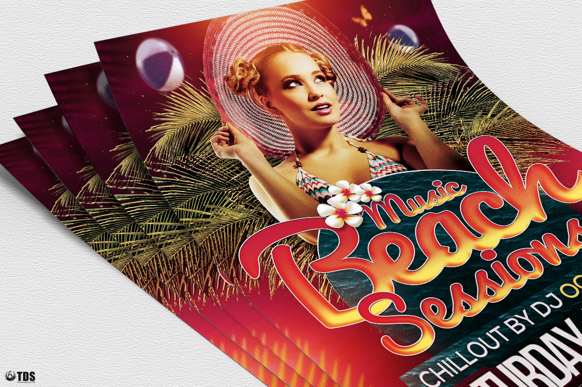 Beach Night Sessions Flyer Template example image 5