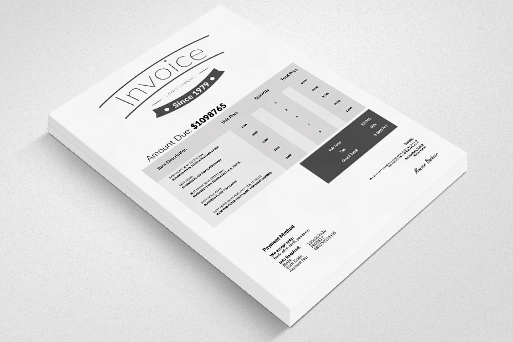 Clean Word Invoice Template example image 2