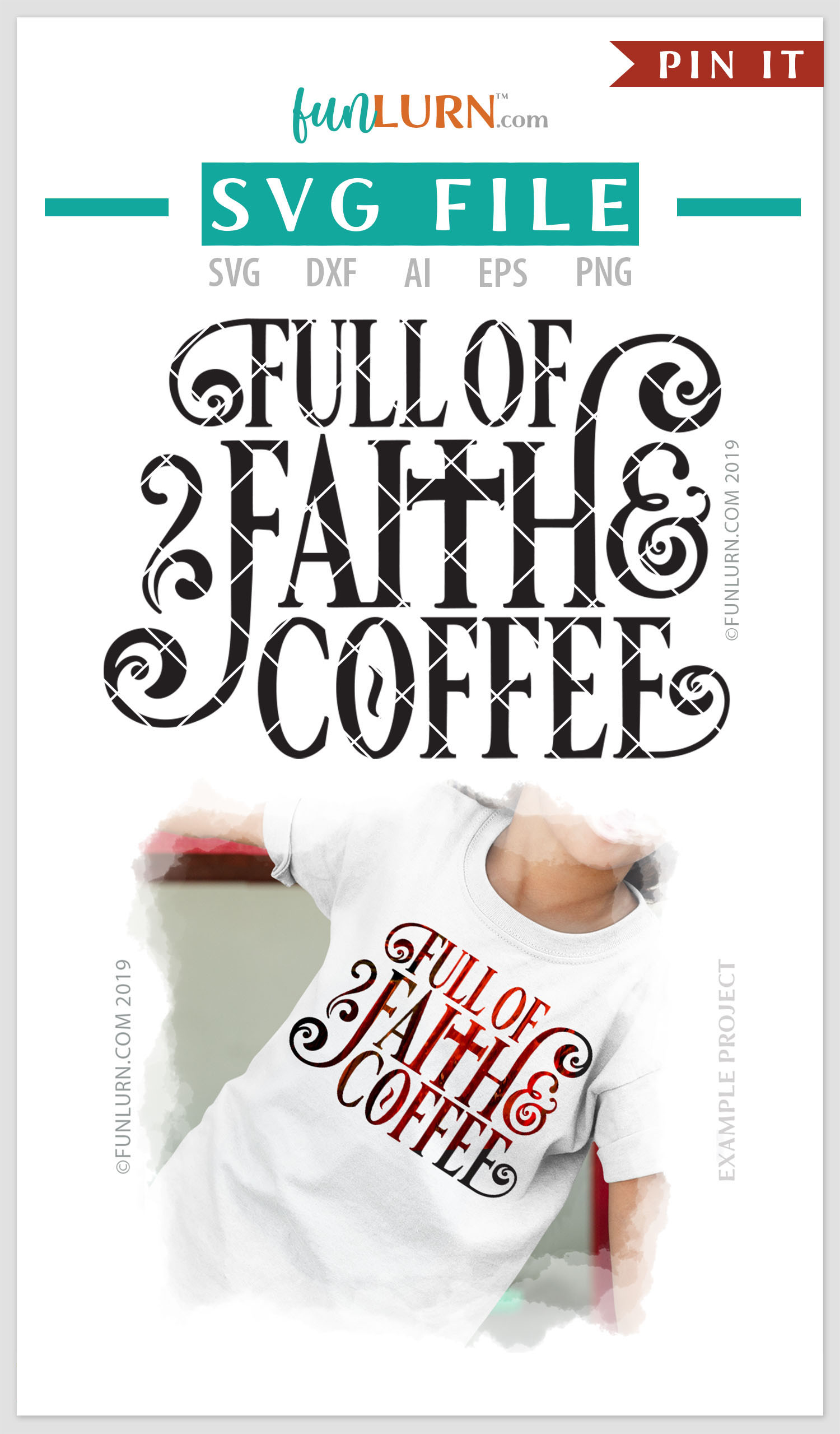 Full of Faith and Coffee SVG Cut File example image 4