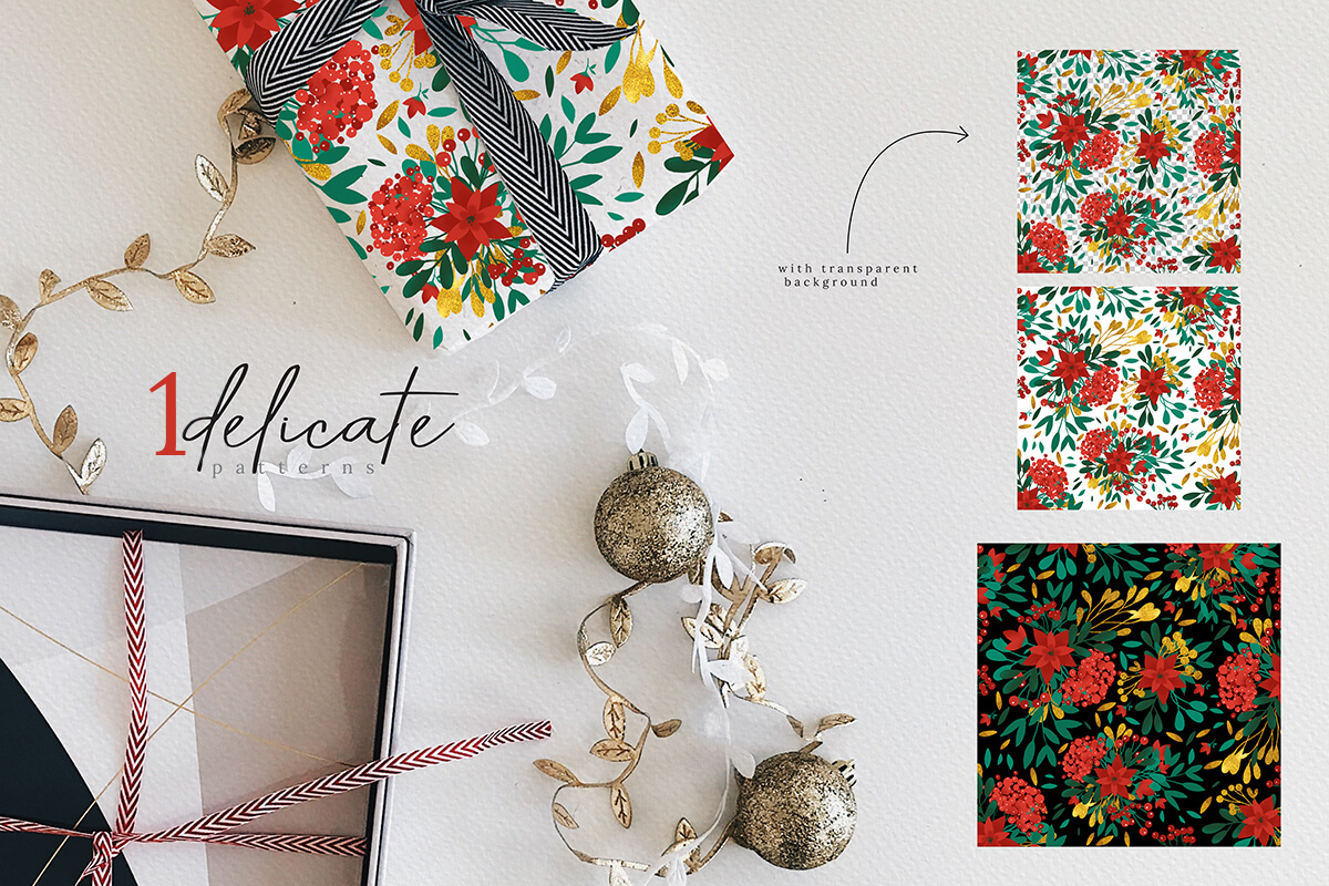 Christmas Watercolor Flowers Clipart Collection example image 10
