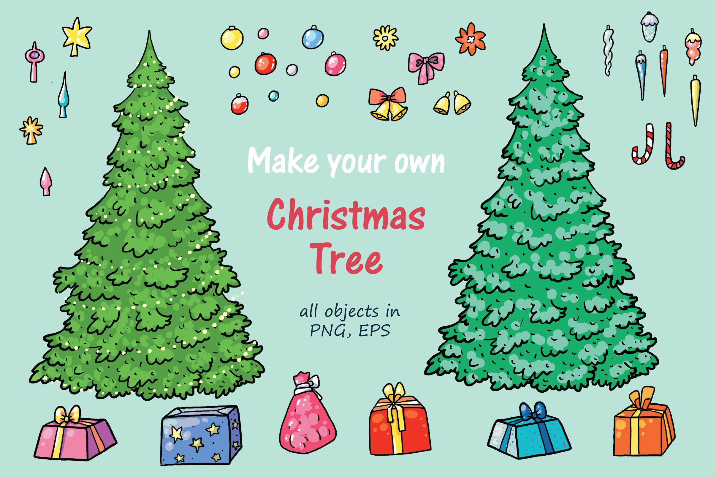 Xmas Cats clip-art, patterns, cards example image 3