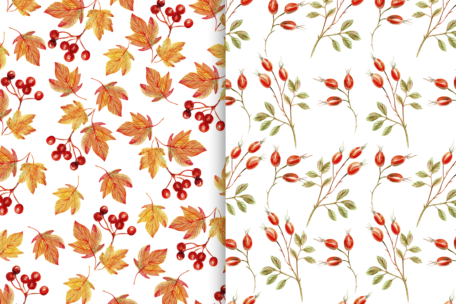 Autumn Watercolor Seamless Patterns Set example image 3
