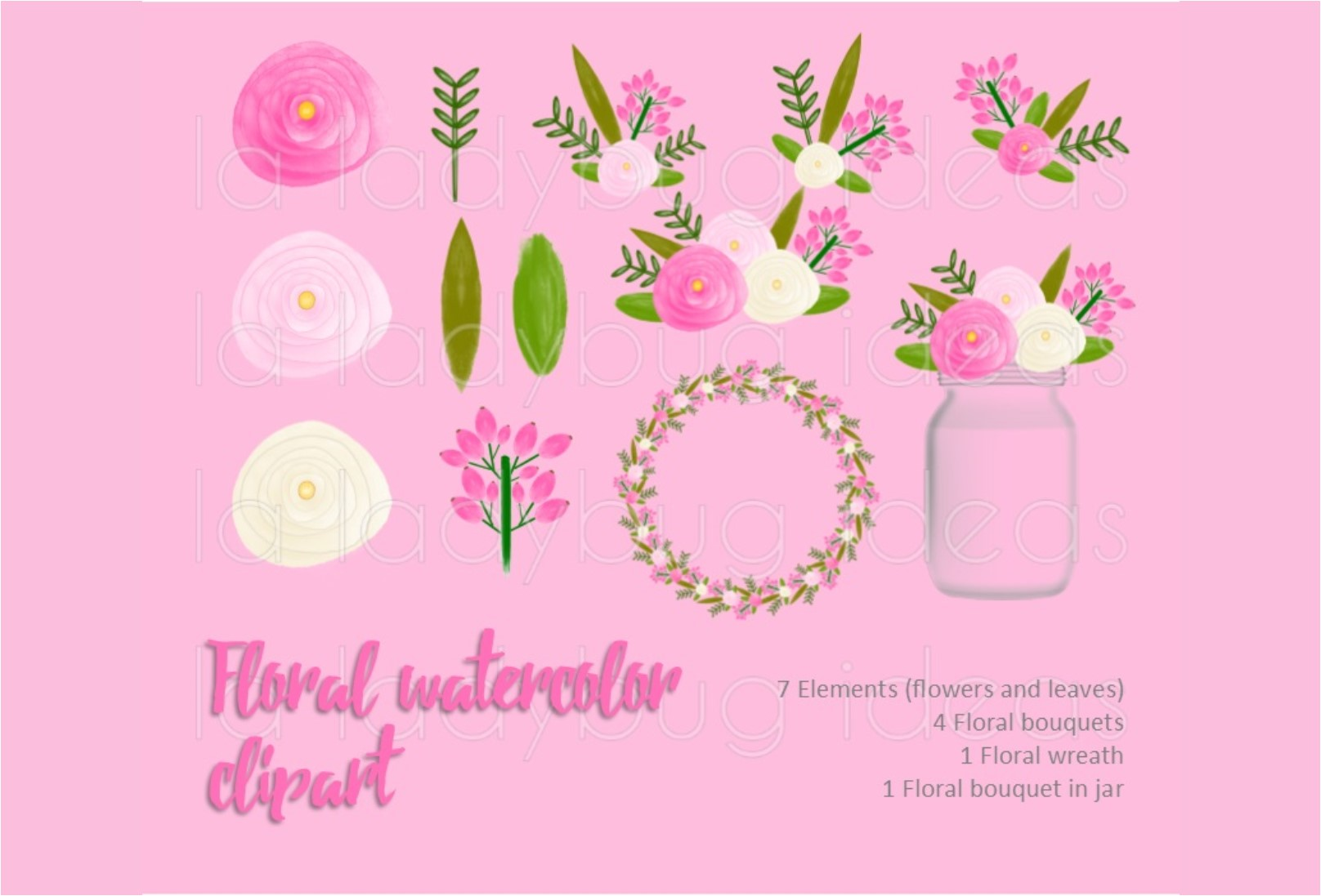 Pink and white floral watercolor clip art collection.  example image 1