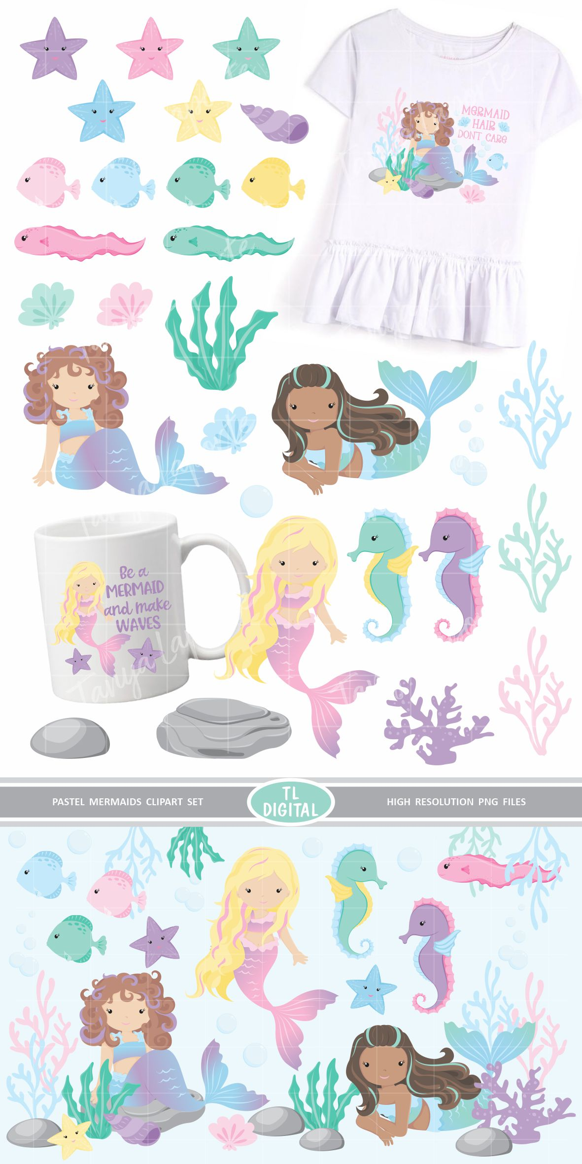 Pastel Mermaid Clipart Set 29 High Resolution PNG Graphics example image 3