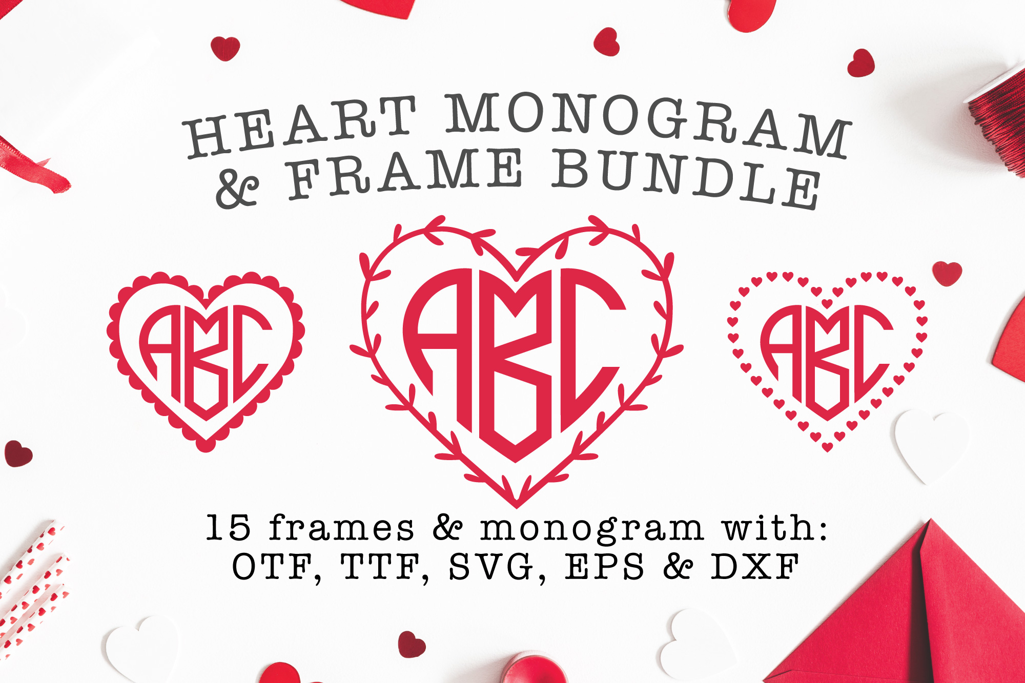 Heart Shaped Monogram with 15 Frames Bonus example image 1