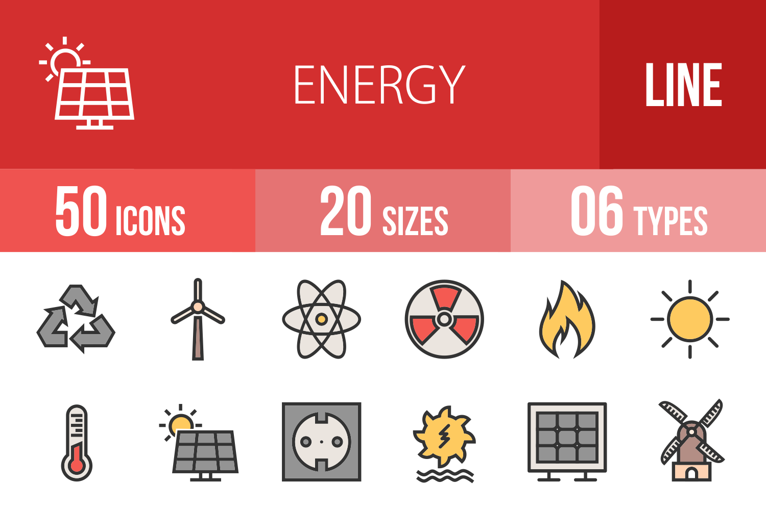 50 Energy Linear Multicolor Icons example image 1