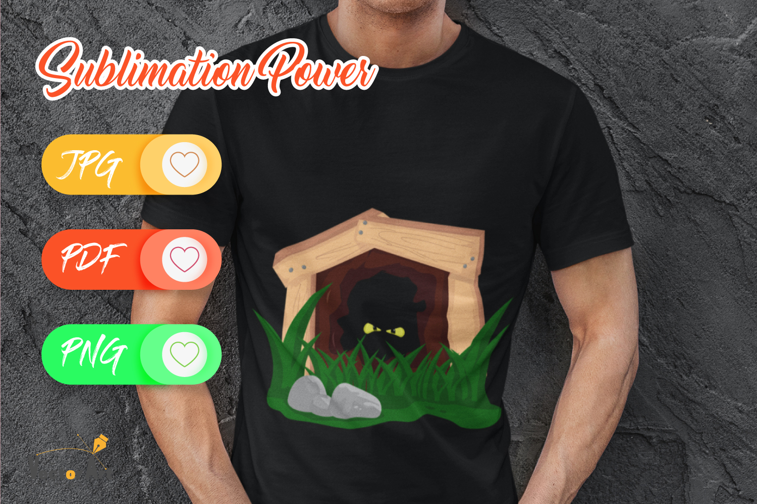 Deep cave with scary eyes - Sublimation File for Crafter example image 4