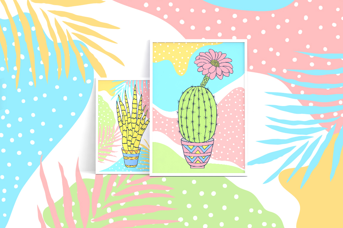 Cactuses. Patterns and cards. example image 12