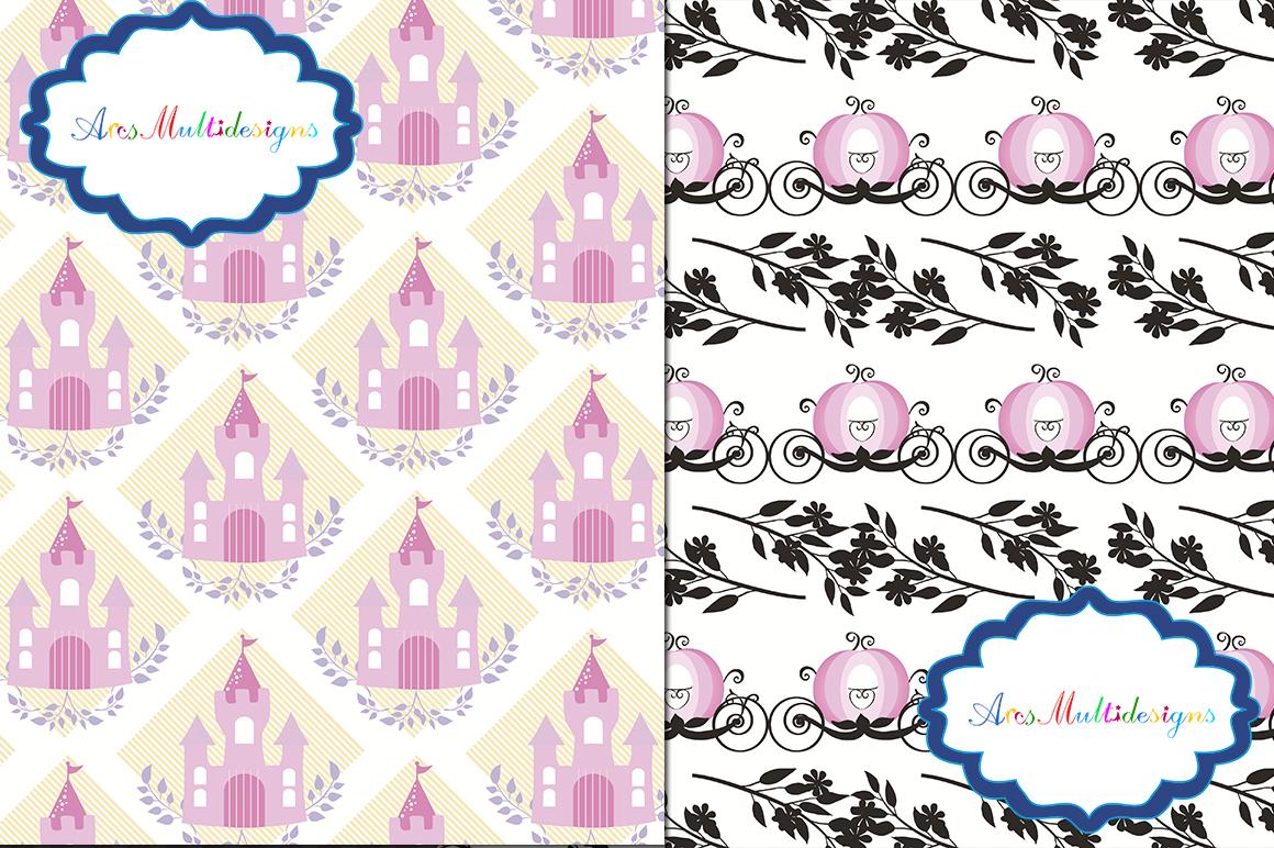 princess digital paper / cameo princess pattern / cameo princess background / high quality digital set 12 x 12 example image 3