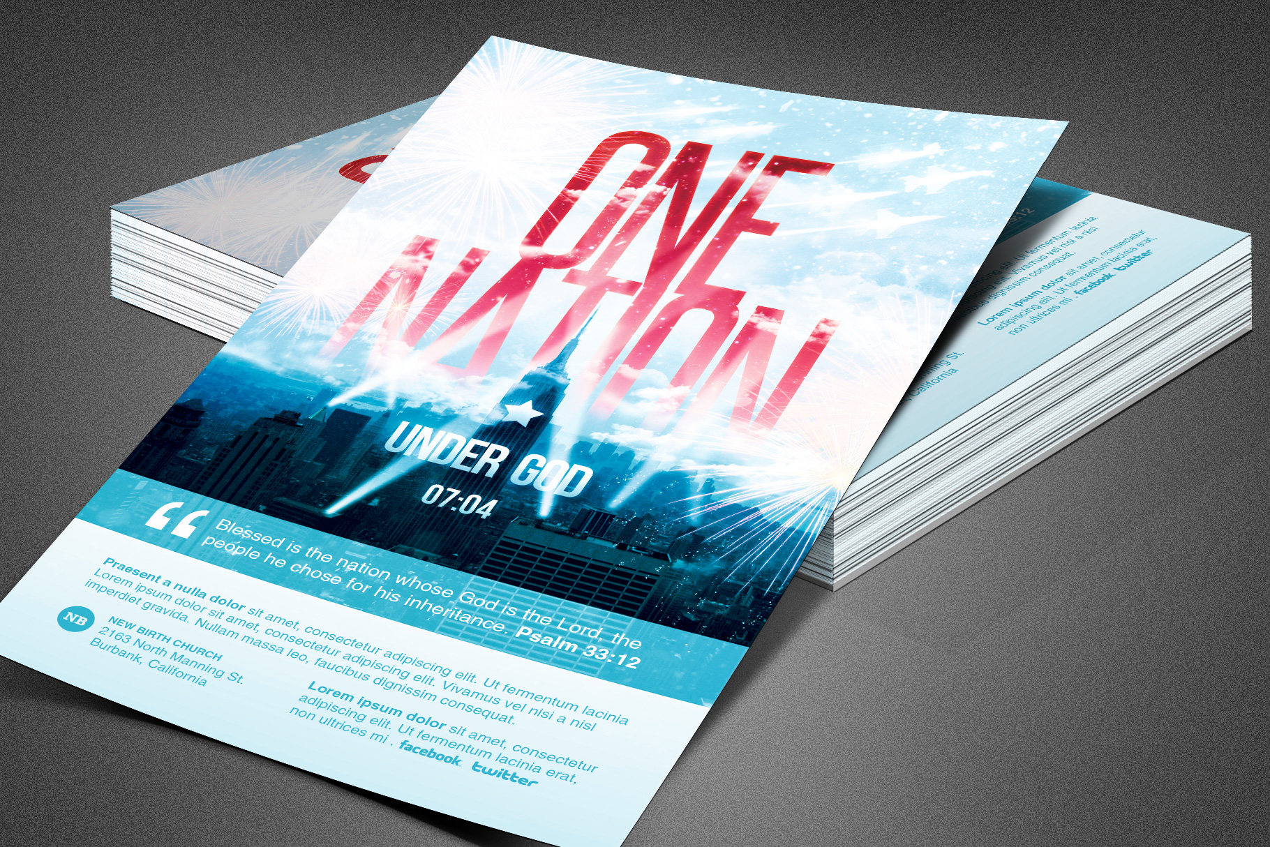 One Nation Under God Flyer Template example image 1