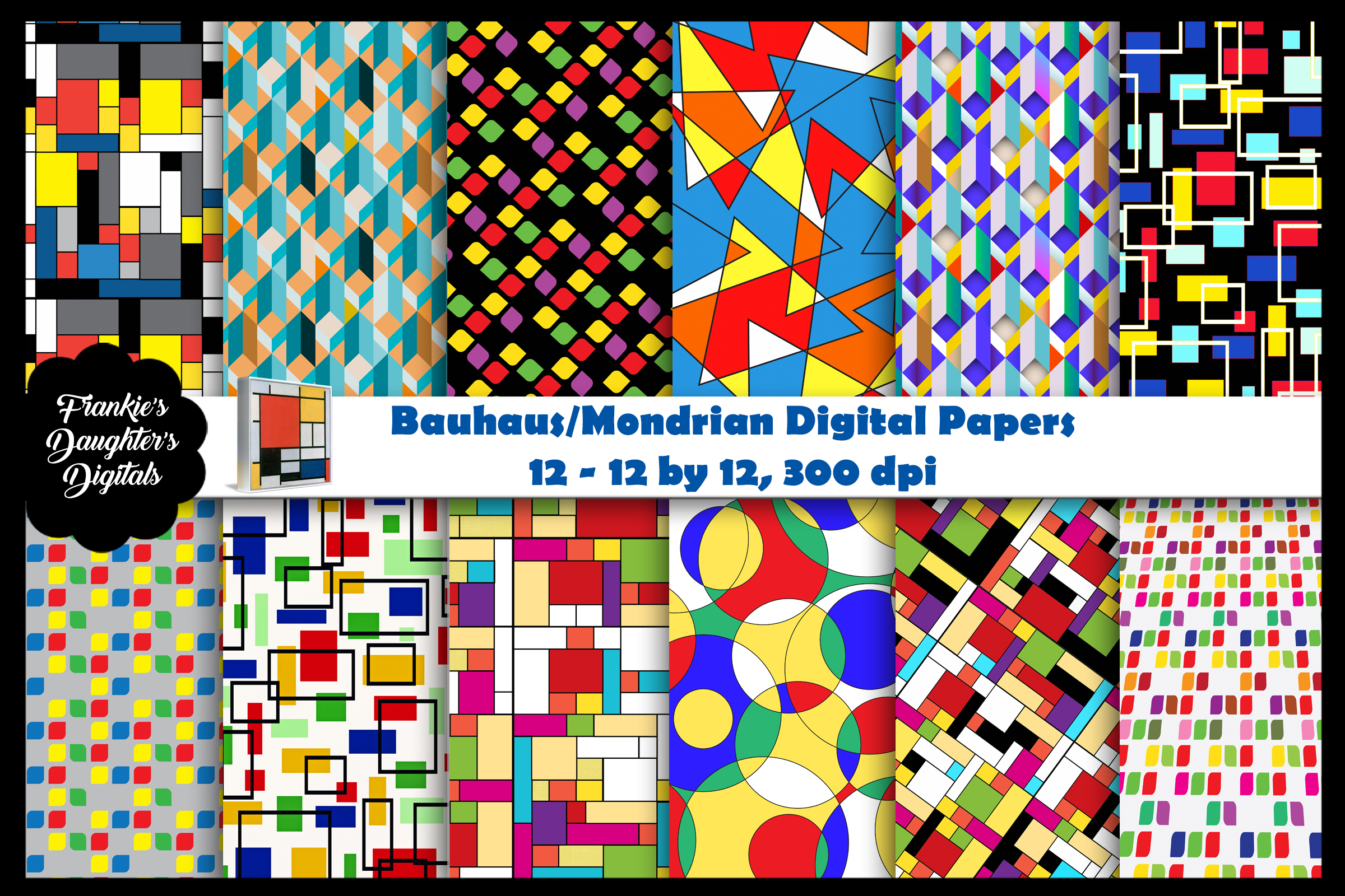 Bauhaus/Mondrian Style Geometric Digital PAPERS example image 1