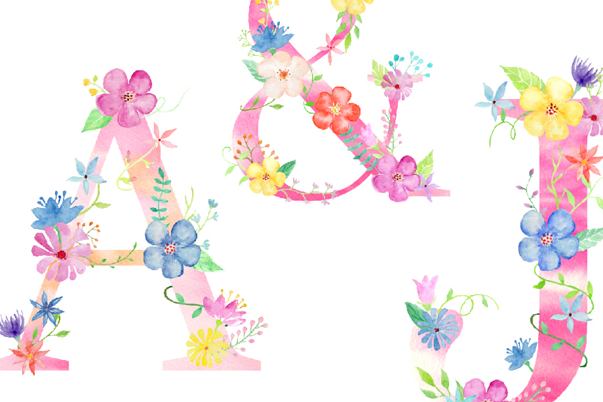 Watercolor floral alphabets, pink floral letters example image 3