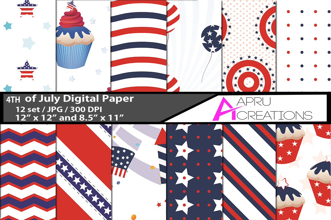 4th of july  digital papers, 4th of july  pattern, digital papers, high quality 300 dpi, 12 x 12 inch , and 8.5 x 11 inch example image 1