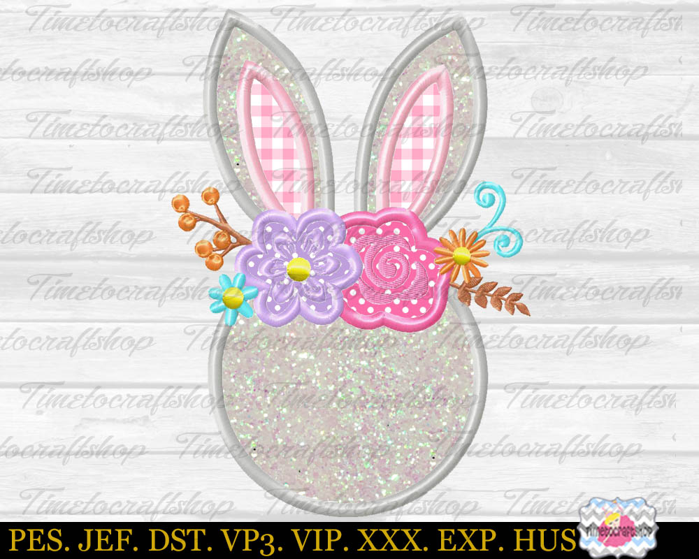 Easter bunny Head with Rose and Daisies Monogram Applique example image 2