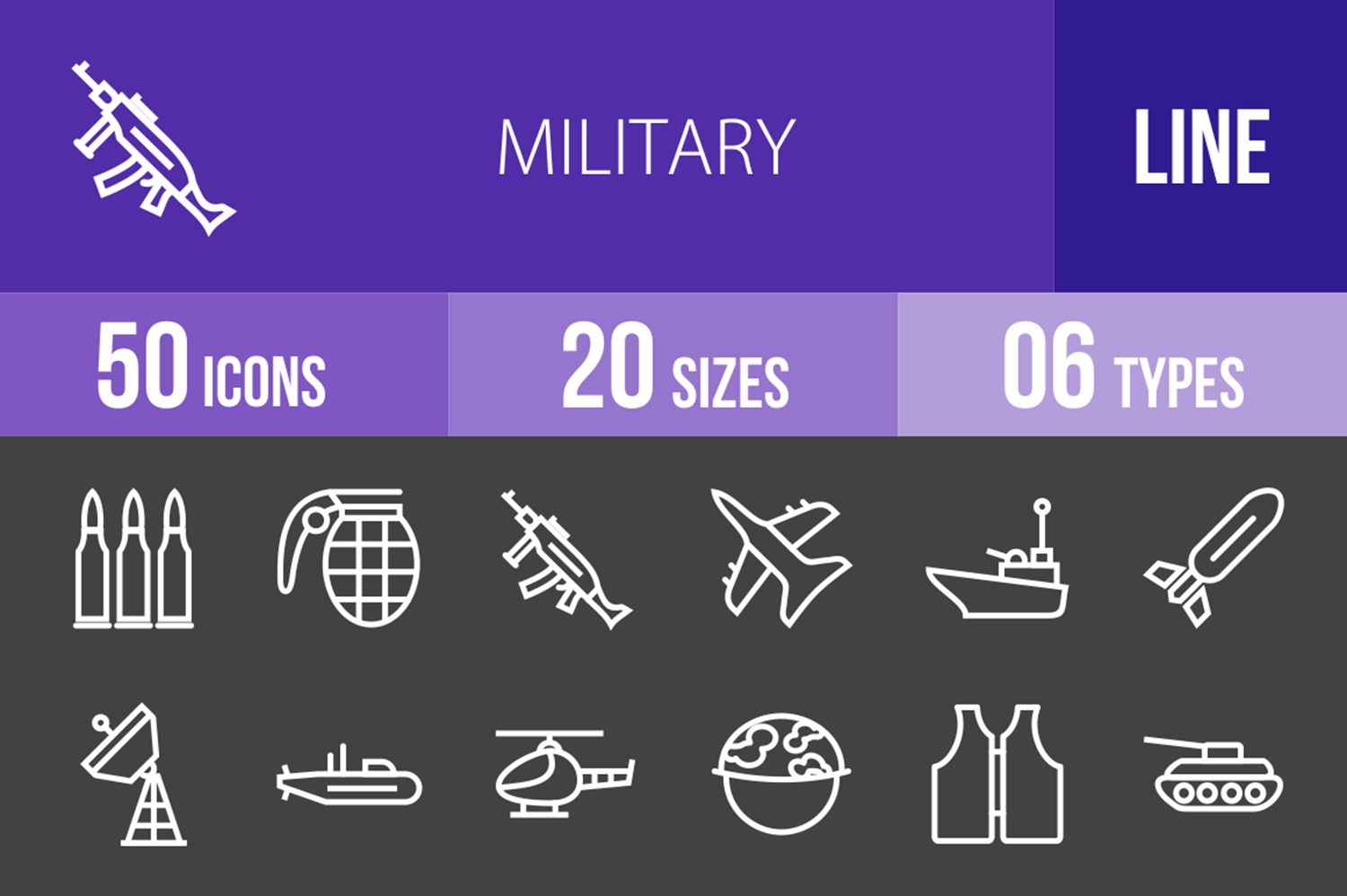 50 Military Line Inverted Icons example image 1