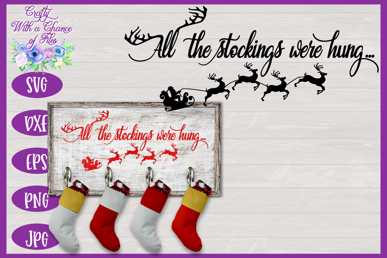 Christmas SVG - Stockings Were Hung Holder Design example image 1
