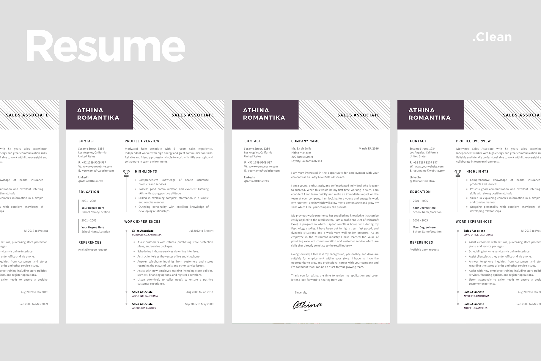 Clean Resume Templates with Match Cover Letter Template - 07