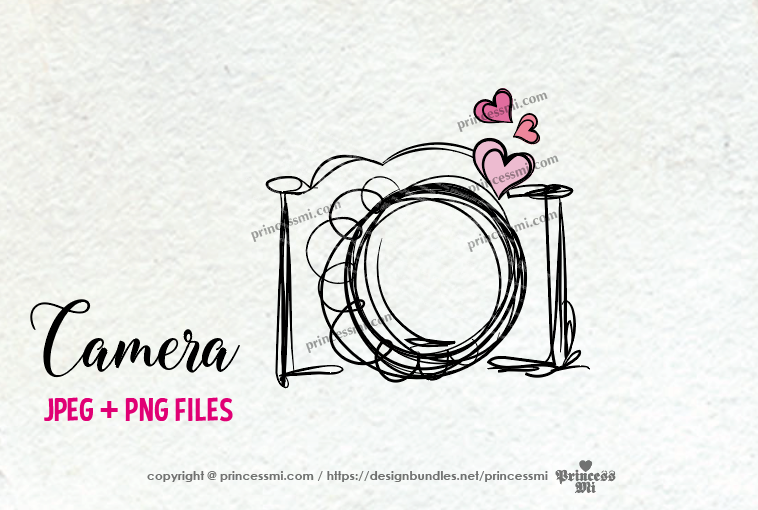 camera clipart - three little hearts example image 2