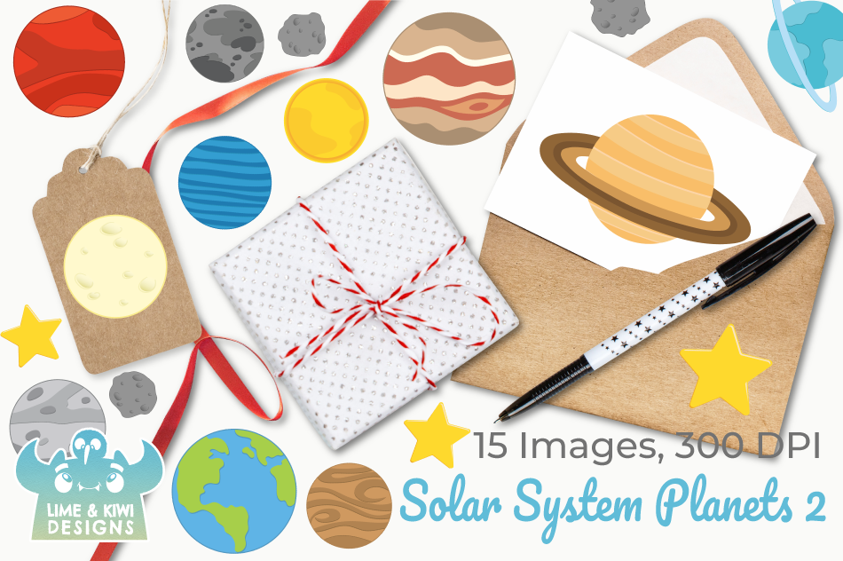 Solar System Planets 2 Clipart, Instant Download Vector Art example image 4