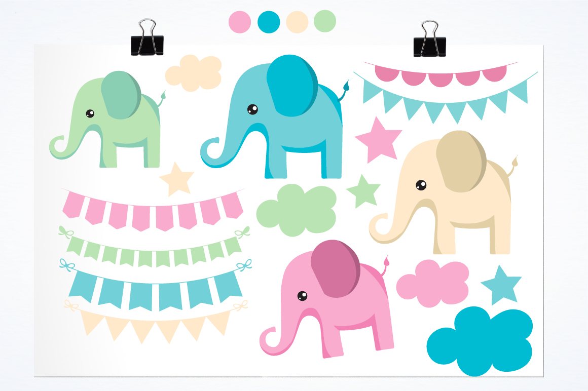 Bunting and elephants graphics and illustrations example image 2