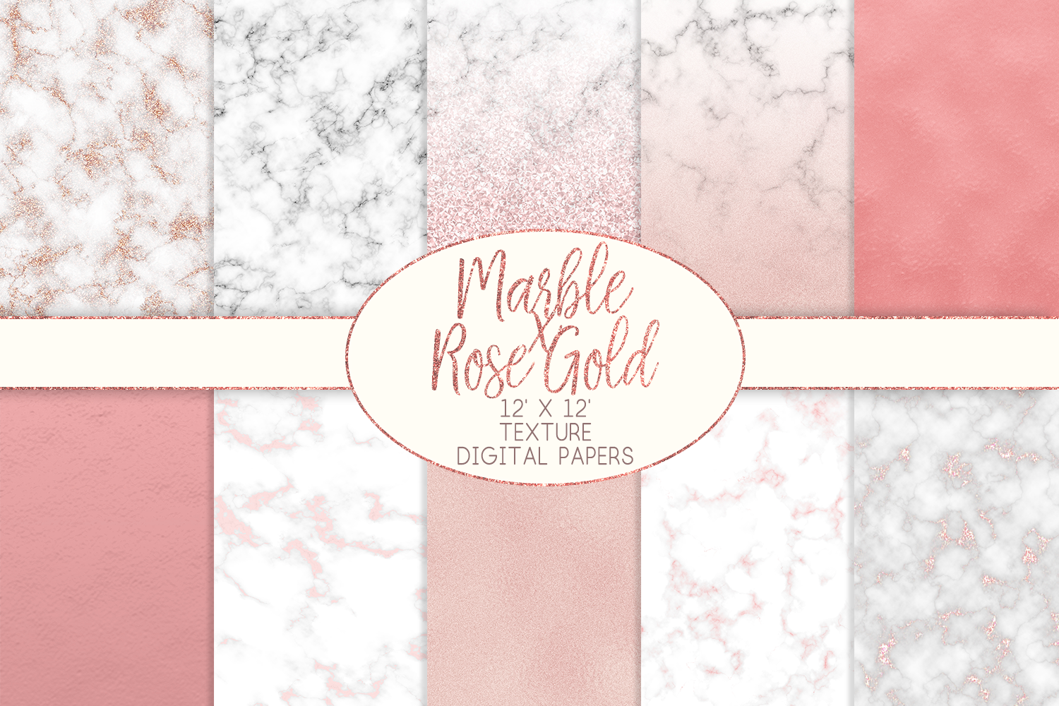 Marble x Rose Gold Texture Digital Papers example image 1