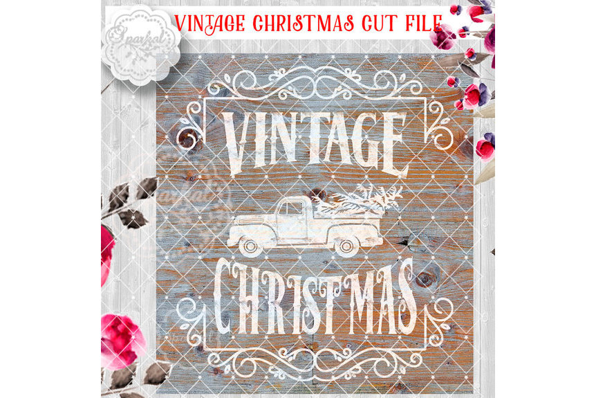 Vintage Rustic Christmas SVG File, Cutting File, Ford Pickup truck Vector Clipart Holiday Decor, Silhouette Cutting file design example image 1