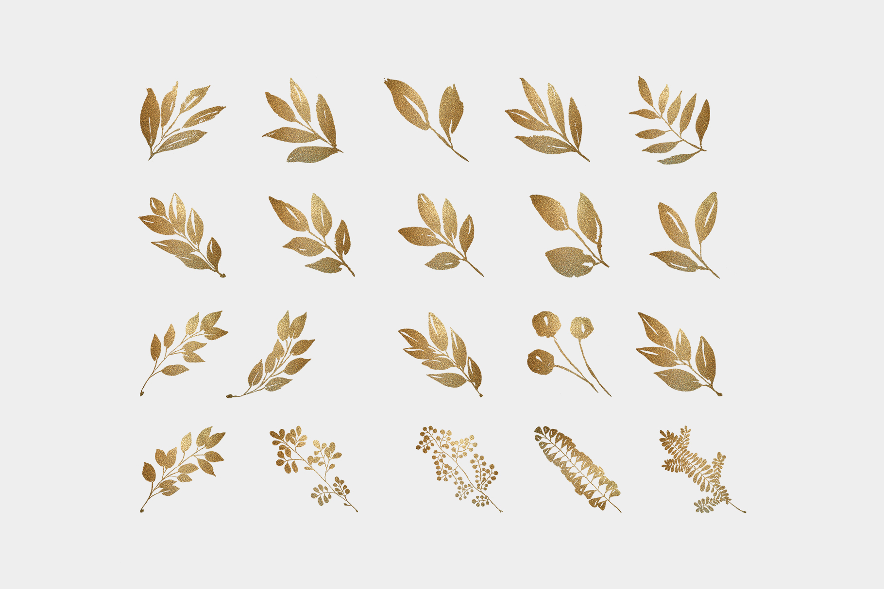 Gold leaves and wreaths, gold foil leaves clip art example image 3